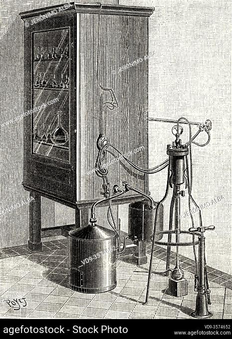The Pasteur Institute. Large grow stove with automatic gas regulator 1890 Paris, France. Old XIX century engraved illustration from La Ilustracion Española y...
