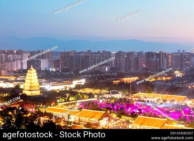 aerial view of xian wild goose pagoda square at night, China