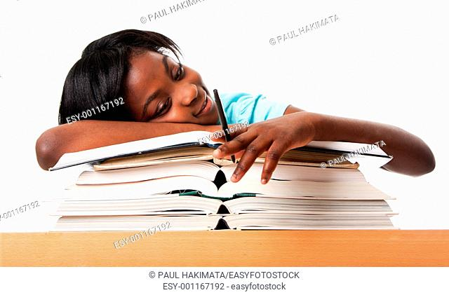 Student tired of doing homework studying with pen laying unmotivated on stack open books, isolated