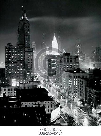 USA, Illinois, Chicago, Michigan Avenue, high angle view of cityscape by night