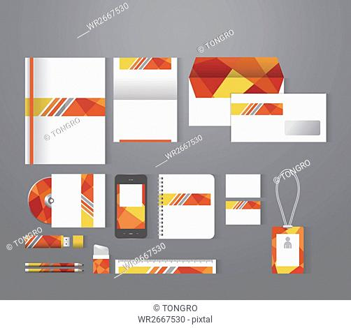 Set of stationary with patterns of orange polygons