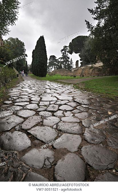 Roman street on Palatine Hill, one of the most ancient parts of the city. Rome, Italy