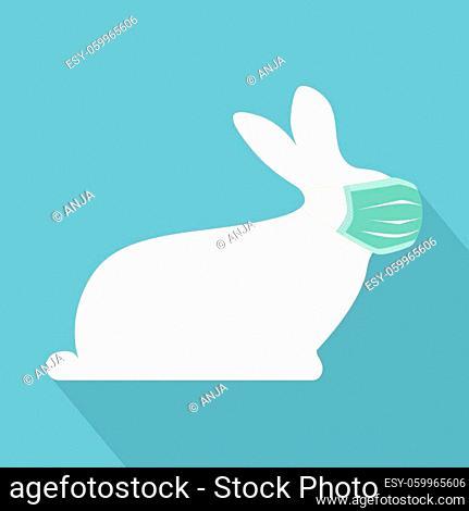 easter bunny wearing protective medical mask -vector illustration