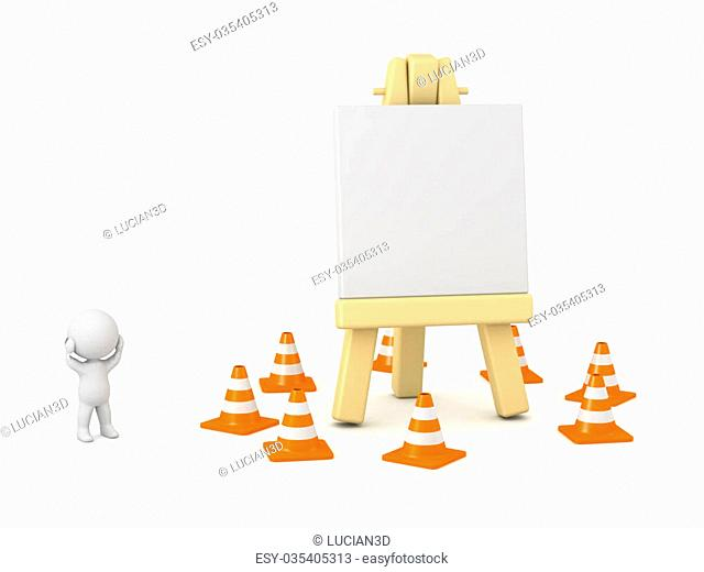 3D character showing an artsy easel surrounded by orange cones. Creative block concept. Isolated on white background