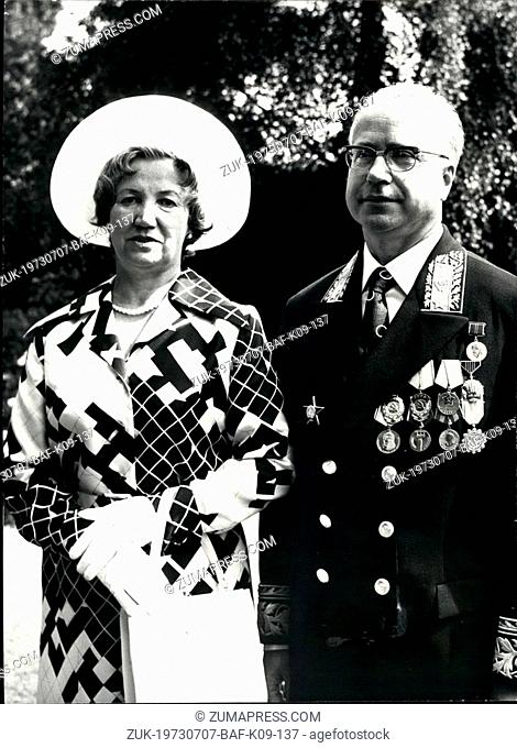 Jul. 07, 1973 - New Russian Ambassador presents credentials: Nikolai Lunkov, the new Soviet Ambassador in London, today went to Buckingham Palace to present his...