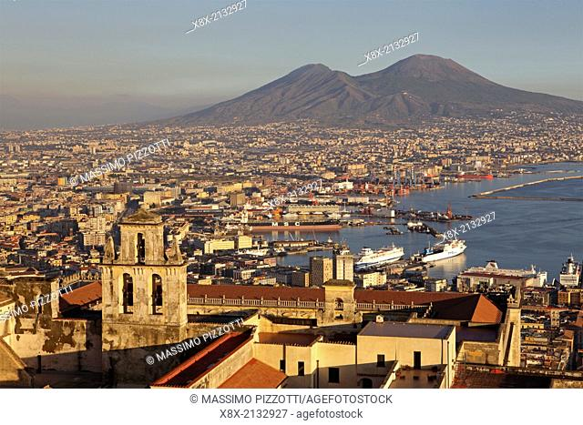 View of the Gulf of Naples and Mount Vesuvius in the distance, Naples, Italy
