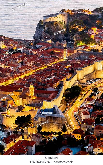 Top view of the old part of Dubrovnik in the evening with illumination