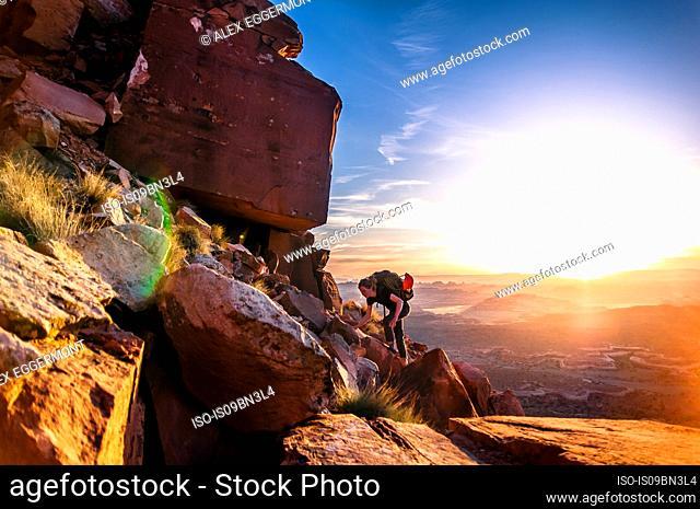Rock climber, Desert Towers, Indian Creek, Moab, Utah, USA