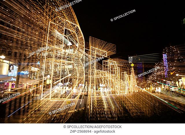 Berlin writing with light trails at chrimstas time