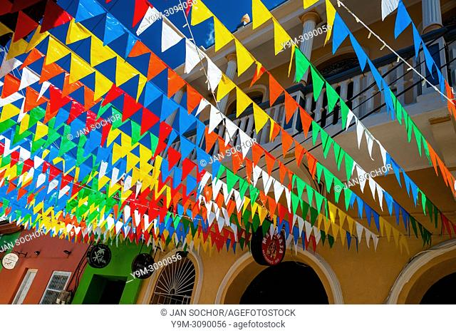Colorful pennant flags are seen hung across the street in Getsemaní, a popular artistic neighborhood in Cartagena, Colombia, 13 December 2017