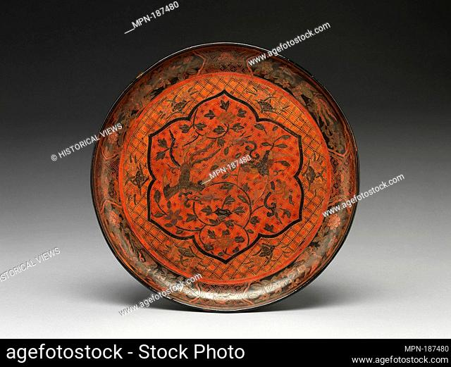 Dish with Phoenixes. Period: Ming dynasty (1368-1644); Date: late 16th-early 17th century; Culture: China; Medium: Polychrome lacquer with filled-in and...