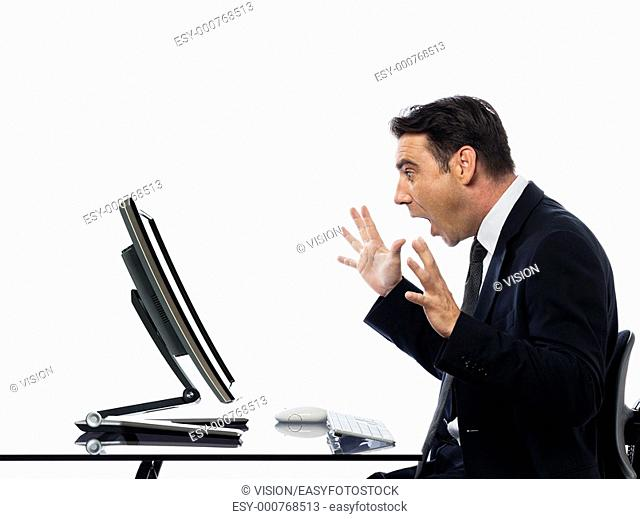 relationship between a caucasian man and a computer display monitor on isolated white background expressing shutdown unexpected concept