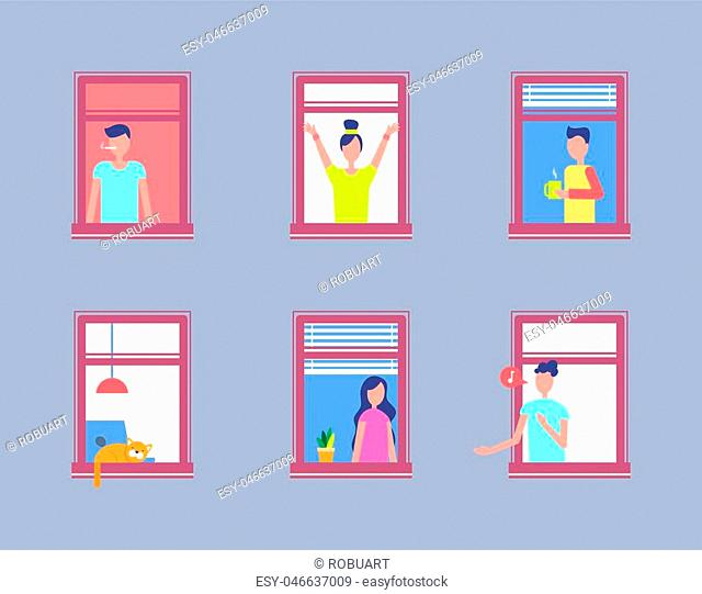 Set of people in open window. Men and women neighbours in window frames smoking, drinking coffee, singing and looking out, pet sleeping on window sill