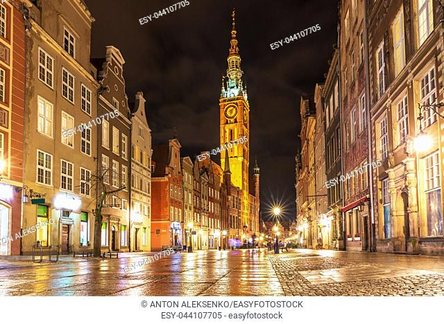 Long Market, the main street of Gdansk, evening illuminated view, no people