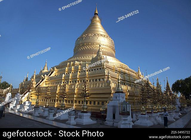 Myanmar: Bagan- General-View of Shwezigon Pagoda