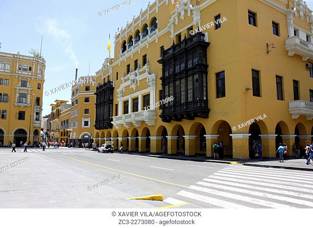 Municipalidad de Lima, City Hall, Plaza de Armas, Plaza Mayor, World Heritage, Lima, capital of Peru