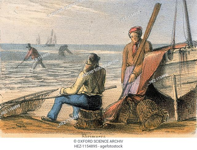'Shrimpers', c1845. Two men on the beach by a boat, one sitting on a lobster pot holding a shrimp net. Others stand knee-deep in the sea catching shrimps