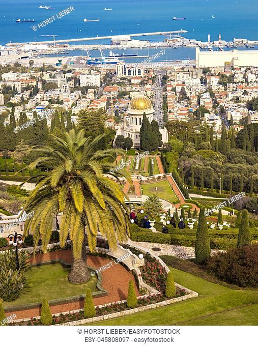 Bahai Gardens at Mount Carmel in Haifa, Israel, Middle East