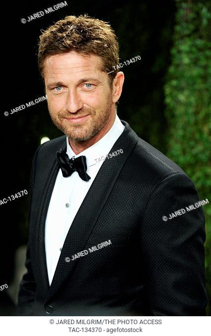 Actor Gerard Butler arrives for the 2013 Vanity Fair Oscar Party on February 24, 2013 in Hollywood, California