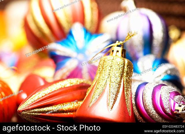 Christmas decoration isolated on the shiny background