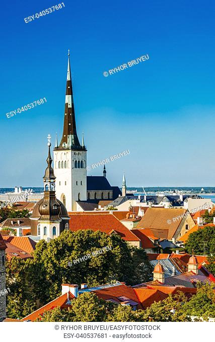 Scenic View Cityscape Old City Town Tallinn In Estonia. Niguliste Church