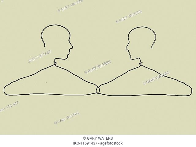 Male and female coat hangers linked together