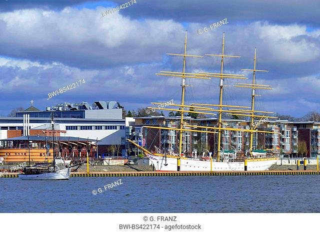 sail training ship Schulschiff Deutschland and ketch Orion in harbour of Bremen Vegesack, Germany, Bremen