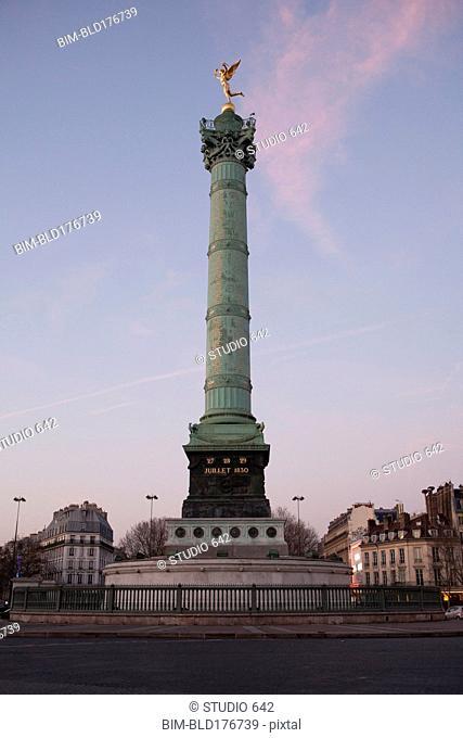 Low angle view of Colonne de Juillet in Paris city center, Ile-de-France, France