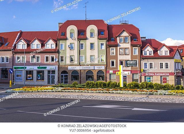 Roundabout of Pope John Paul II in Ketrzyn town in Warmian-Masurian Voivodeship of Poland