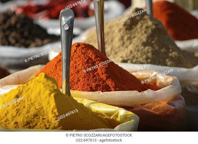 Anjuna Goa, India: spices on sale at the flea market