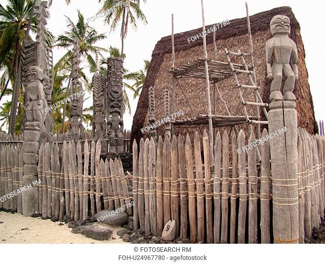 South Kona, Big Island, Island of Hawaii, HI, Hawaii, Kona Coast, Leeward, West Coast, Captain Cook, Honaunau, Pu'uhonua O Honaunau National Historical Park