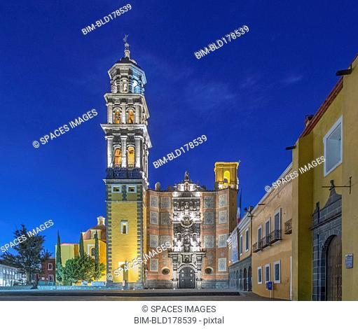 Illuminated tower and Church of San Francisco, Puebla, Puebla, Mexico