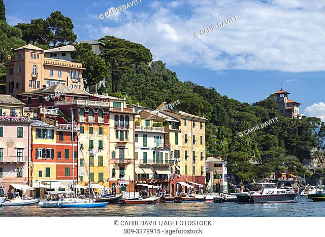 Portofino Harbour front and Marina, Portofino, Paraggi, Liguria, Italy