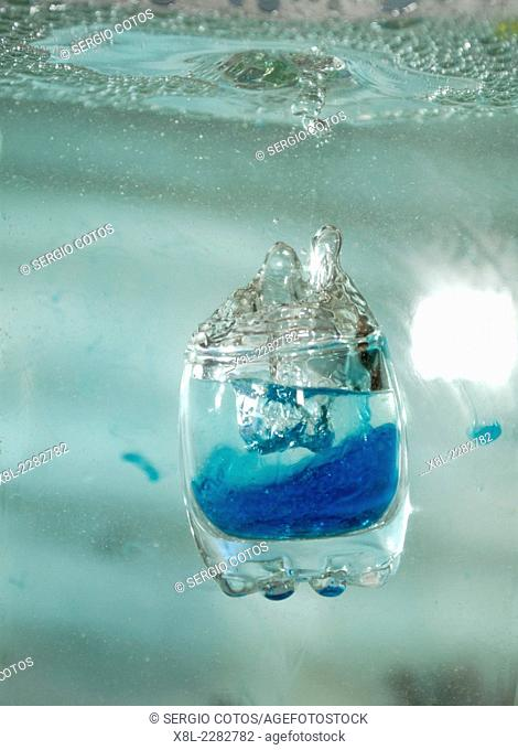 immersing in water glass