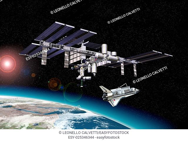 Space station in orbit around Earth, with Shuttle. with some starlights effects and a portion of the Earth at the bottom