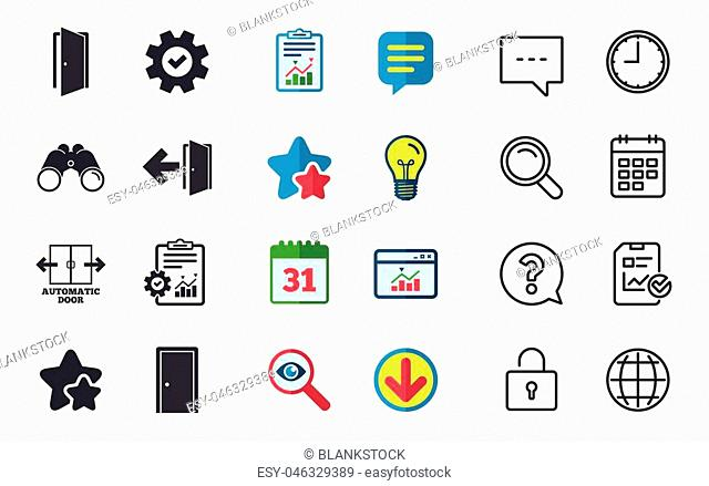 Automatic door icon. Emergency exit with arrow symbols. Fire exit signs. Chat, Report and Calendar signs. Stars, Statistics and Download icons