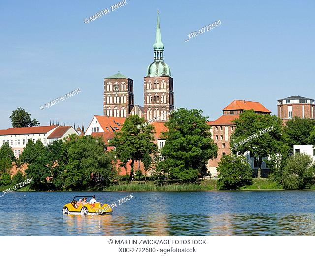 Cityscape of Stralsund with the pond Knieperteich. The Hanseatic City Stralsund. The old town is listed as UNESCO World Heritage