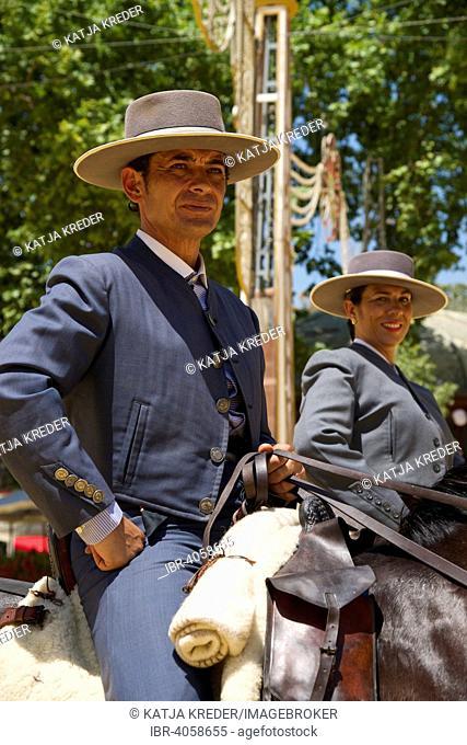 Riders in the Feria del Caballo, Jerez de la Frontera, Andalusia, Spain