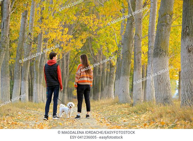 Young boy and girl with maltese dog in autumn forest