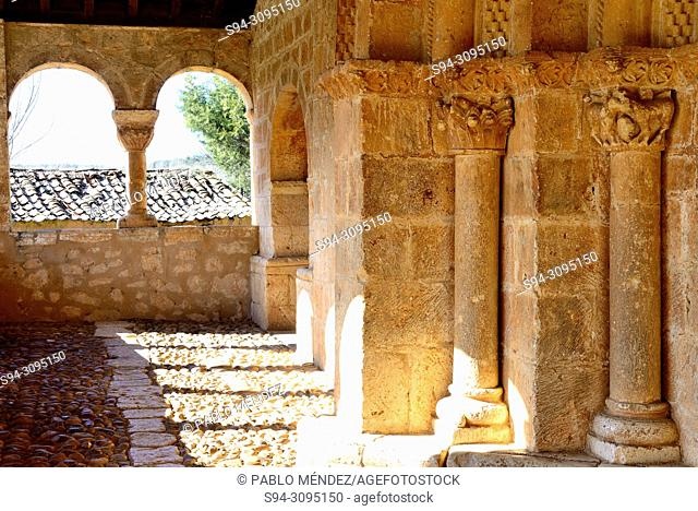 Arcade of the church of San Miguel Arcangel in Andaluz, Soria, Spain