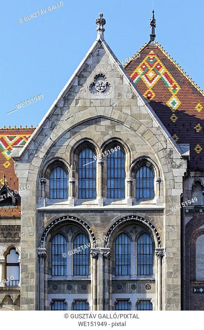 Budapest, Hungary, National Archives neoromanesque facade