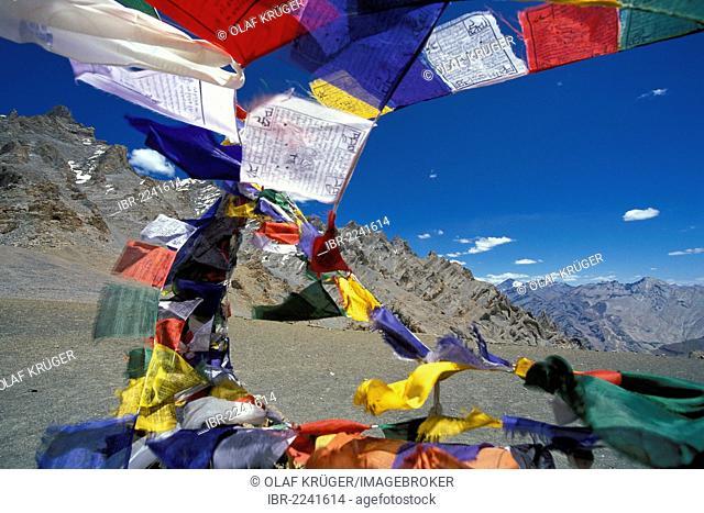 Prayer flags flying in the wind at Mt Sengge-La or Sengge Pass, Zanskar, Ladakh, Jammu and Kashmir, North India, India, Indian Himalayas, Asia