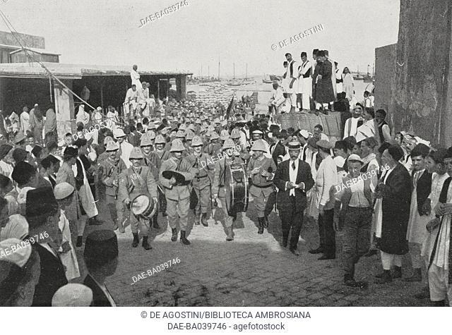 Military band precedes the Italian troops entry into Tripoli, Libya, Italian-Turkish war, photograph by Aldo Molinari, from L'Illustrazione Italiana