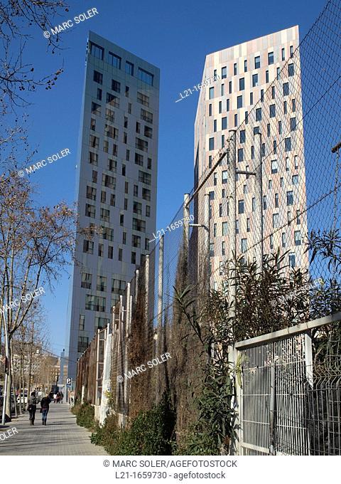 Modern buildings. Novotel Barcelona City Hotel on the left. @22 district, Barcelona, Catalonia, Spain