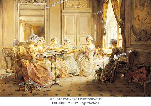 Madeleine Lemaire (1845-1928) French school The Embroidery Lesson England, Haynes Fine Art