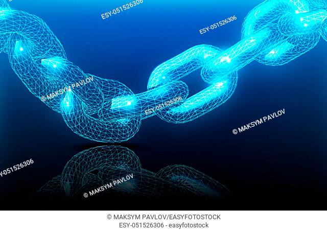 Realistic chain made from line and dot connection. Triangular design. Block chain concept. Vector illustration for the concept of networking or teamwork on blue...