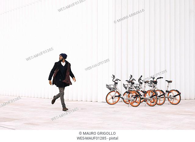 Italy, Milan, African american man running