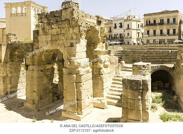 Cityscape in Lecce on July 13, 2018 Puglia Italy. Sant'Oronzo square