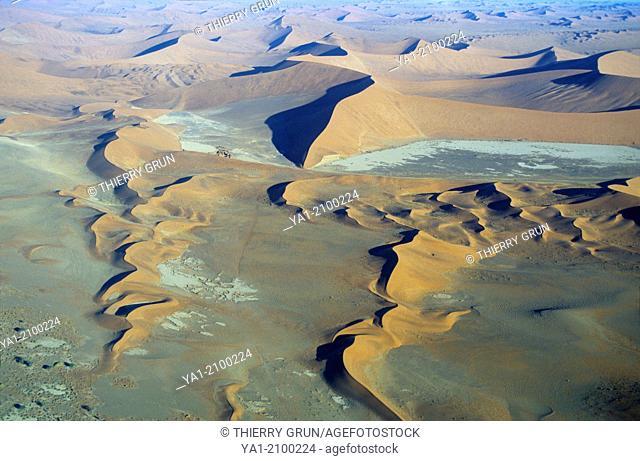 Aerial view of Namib-Naukluft NP desert near Sossusvlei, Namibia, Africa