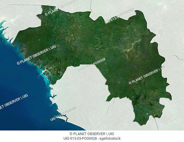 Satellite view of Guinea (with country boundaries and mask). This image was compiled from data acquired by Landsat satellites